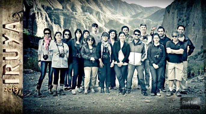 El grupo de asistentes al workshop, en Iruya. Adelante a la derecha, Charlie Hawk.