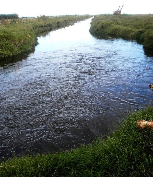 Remolinos en un canal; el agua sale con fuerza del tubo bajo la calle