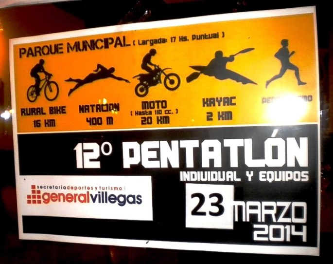 Afiche del pentatlón, a realizarse el Domingo 23