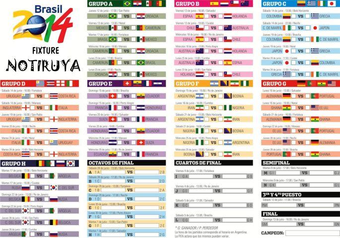 Fixture completo del Mundial de Fútbol 2014 en Brasil