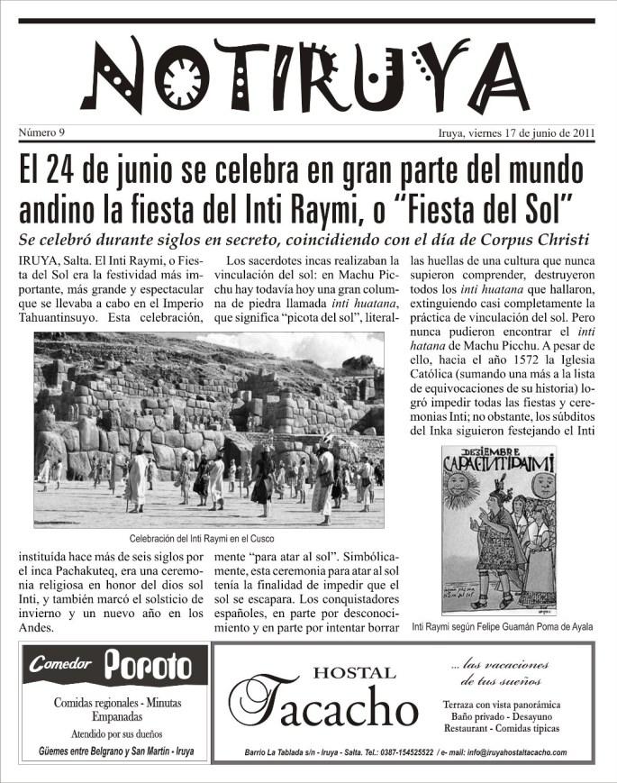 Nota Inti Raymi, página 1