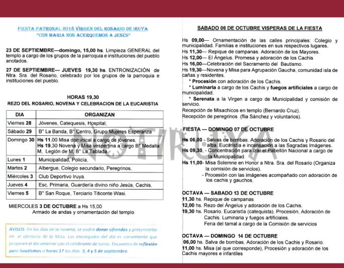 Programa Fiesta del Rosario 2018 (texto)
