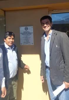 ABRA DEL SAUCE, Iruya, Salta, 09/10/18.- Posando junto a la placa conmemorativa.